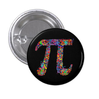 Pi Symbol Action Painting Splatter 1 Inch Round Button