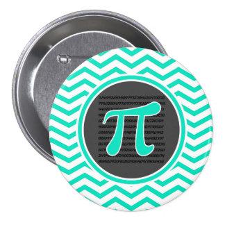 Pi symbol; Aqua Green Chevron 3 Inch Round Button