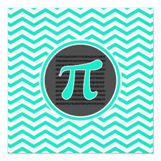 Pi symbol; Aqua Green Chevron 5.25x5.25 Square Paper Invitation Card