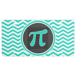 Pi symbol; Aqua Green Chevron License Plate