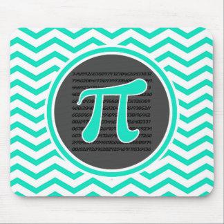Pi symbol Aqua Green Chevron Mouse Pads