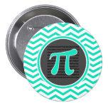Pi symbol; Aqua Green Chevron Pinback Buttons