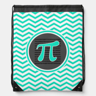 Pi symbol; Aqua Green Chevron Drawstring Bag