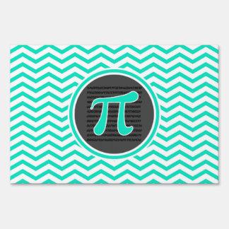 Pi symbol; Aqua Green Chevron Signs
