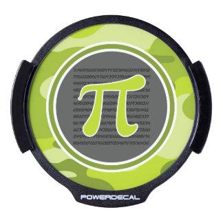 Pi symbol; bright green camo, camouflage LED car decal