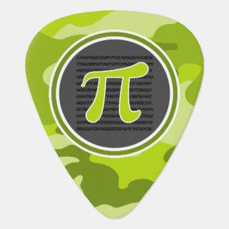 Pi symbol; bright green camo, camouflage guitar pick