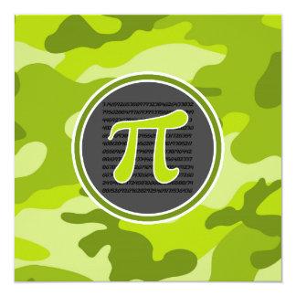 Pi symbol; bright green camo, camouflage 5.25x5.25 square paper invitation card