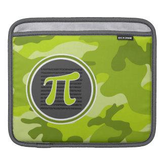 Pi symbol; bright green camo, camouflage iPad sleeves