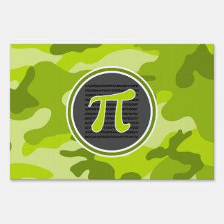 Pi symbol; bright green camo, camouflage yard signs