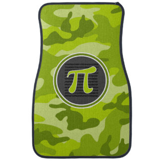 Pi symbol; bright green camo, camouflage floor mat