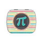 Pi Symbol, Bright Rainbow Stripes Candy Tins