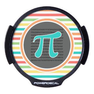 Pi Symbol, Bright Rainbow Stripes LED Window Decal