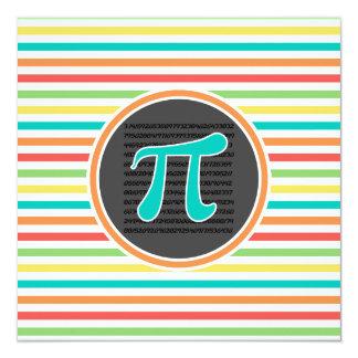 Pi Symbol, Bright Rainbow Stripes 5.25x5.25 Square Paper Invitation Card