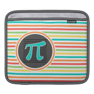 Pi Symbol, Bright Rainbow Stripes Sleeves For iPads