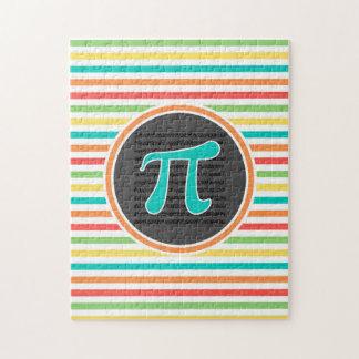 Pi Symbol, Bright Rainbow Stripes Jigsaw Puzzles