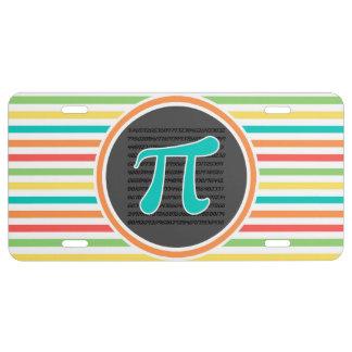 Pi Symbol, Bright Rainbow Stripes License Plate