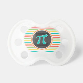 Pi Symbol, Bright Rainbow Stripes Pacifier