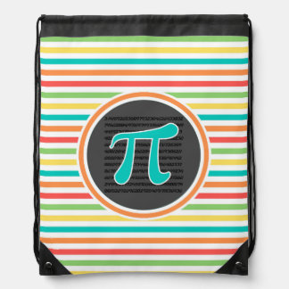 Pi Symbol, Bright Rainbow Stripes Drawstring Backpack