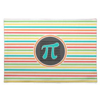 Pi Symbol, Bright Rainbow Stripes Place Mat