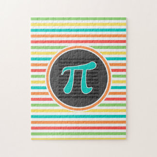 Pi Symbol, Bright Rainbow Stripes Jigsaw Puzzle