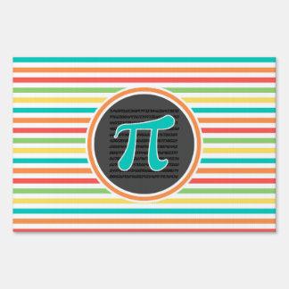 Pi Symbol, Bright Rainbow Stripes Signs