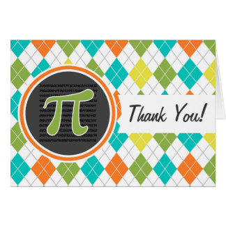 Pi symbol; Colorful Argyle Pattern Card