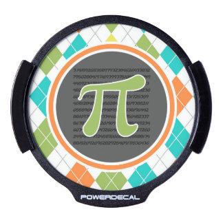 Pi symbol; Colorful Argyle Pattern LED Car Window Decal