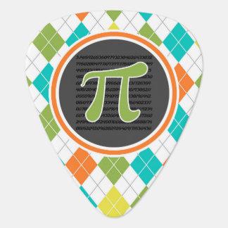 Pi symbol; Colorful Argyle Pattern Pick