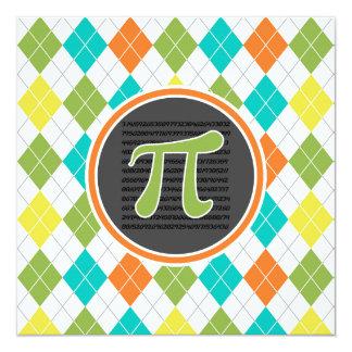 Pi symbol; Colorful Argyle Pattern 5.25x5.25 Square Paper Invitation Card