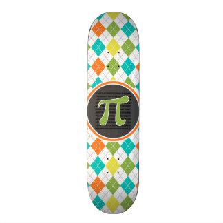 Pi symbol; Colorful Argyle Pattern Skateboard Deck