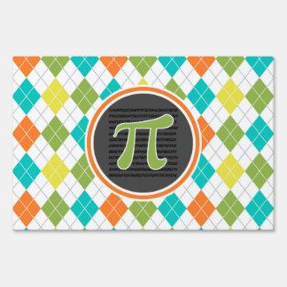 Pi symbol; Colorful Argyle Pattern Yard Sign