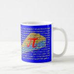 Pi symbol, digits and pie mug