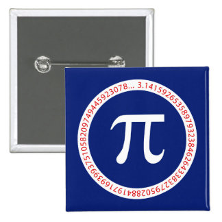 Pi Symbol in Circle on Navy Blue Button