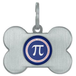 Pi Symbol in Circle on Navy Blue Pet Tag