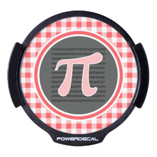 Pi symbol; Red and White Gingham LED Car Decal