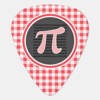 Pi symbol; Red and White Gingham Pick