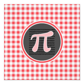 Pi symbol; Red and White Gingham 5.25x5.25 Square Paper Invitation Card