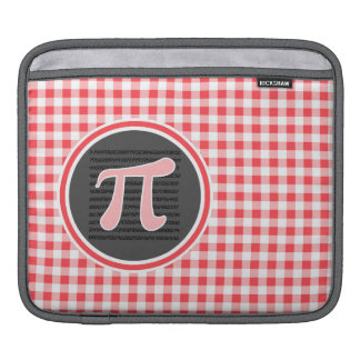 Pi symbol; Red and White Gingham Sleeve For iPads