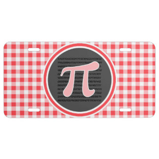 Pi symbol; Red and White Gingham License Plate