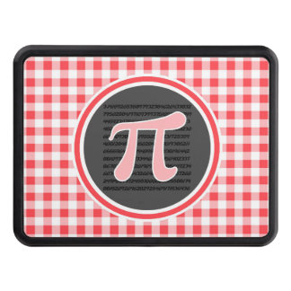 Pi symbol; Red and White Gingham Tow Hitch Covers
