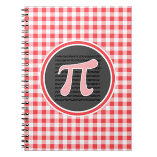 Pi symbol; Red and White Gingham Spiral Notebooks
