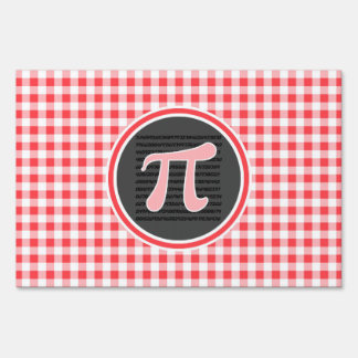 Pi symbol; Red and White Gingham Lawn Sign