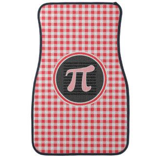 Pi symbol; Red and White Gingham Floor Mat