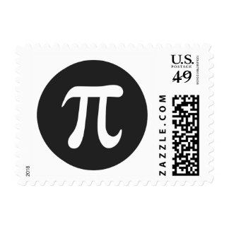 Pi symbol white on very dark gray postage