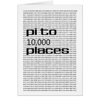 Pi to 10000 places card
