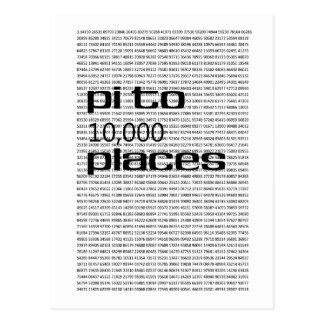 Pi to 10000 places postcard