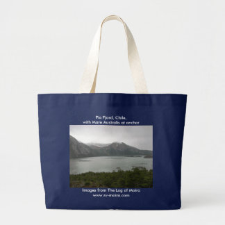 Pia Fjord, Chile, with Mare Australis at anchor Large Tote Bag