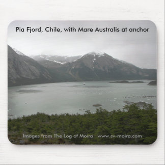 Pia Fjord Chile with Mare Australis at anchor Mousepads