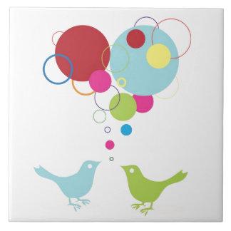 Pia su amor con estos pequeños lovebirds azulejo cuadrado grande