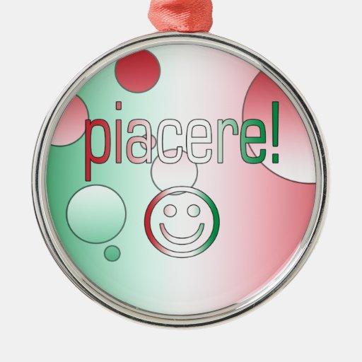 Piacere! Italy Flag Colors Pop Art Ornaments